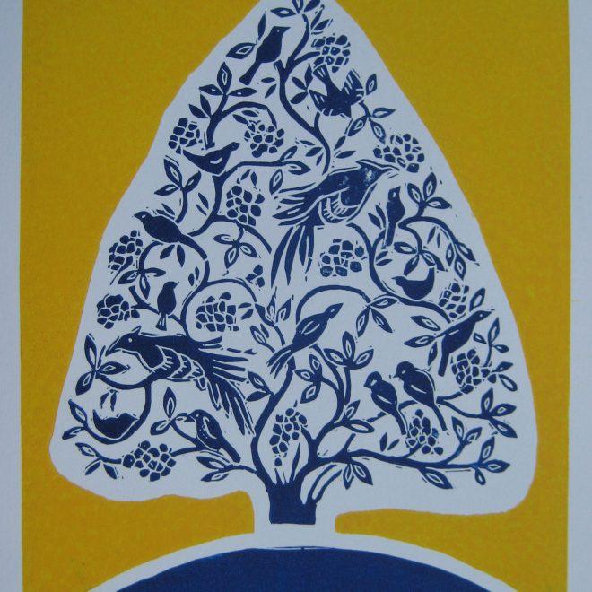 Blue Tree with Birds (Liz Beardwell)