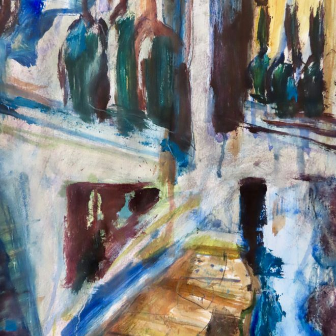 Cafe Three Bottles Reflection_35x27_oilonpaper