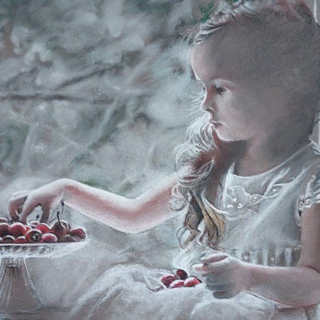 Girl with cherries (Rachel Haynes)