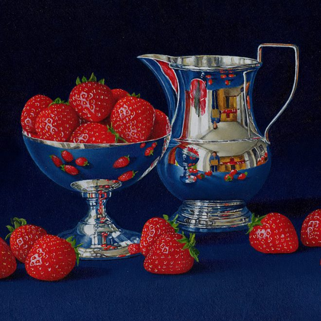 Strawberries With A Silver Jug (David John Leathers)