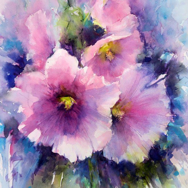 'Summer Hollyhocks (Chris Lockwood)