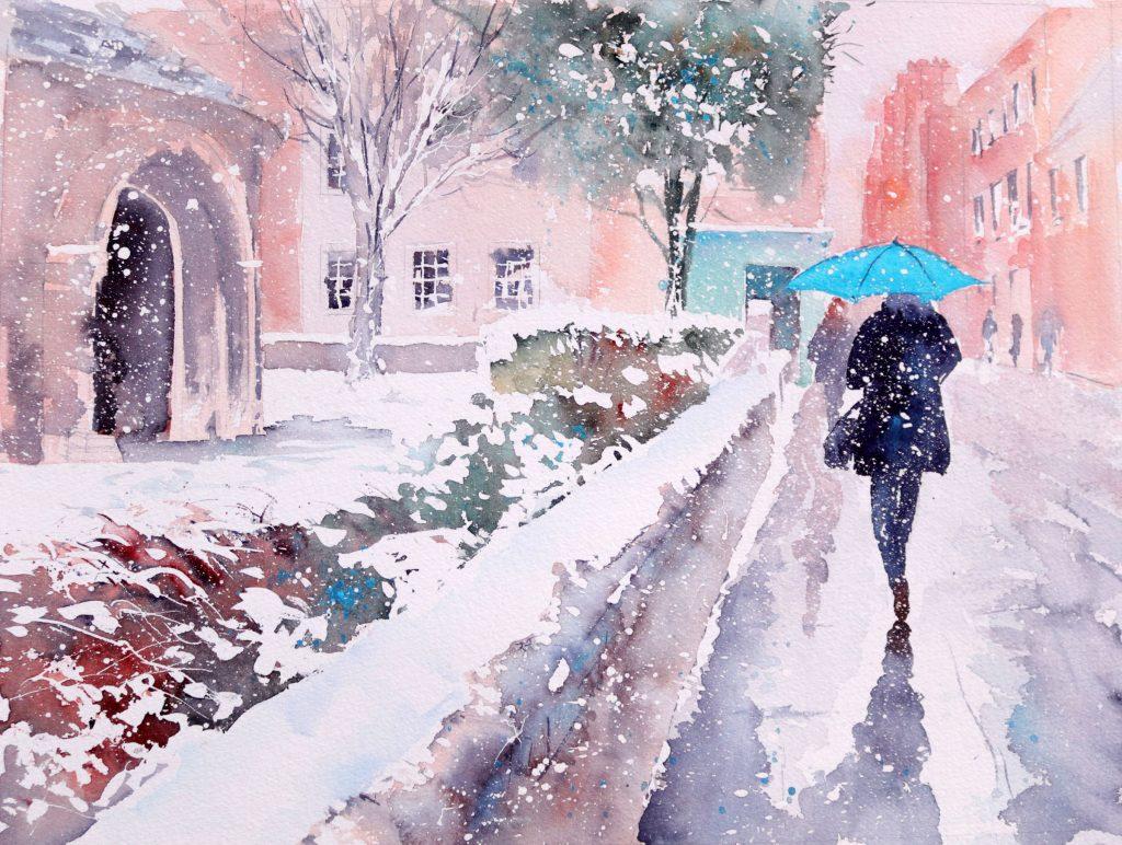 The Blue Umbrella, Snowy Cambridge (Chris Lockwood)