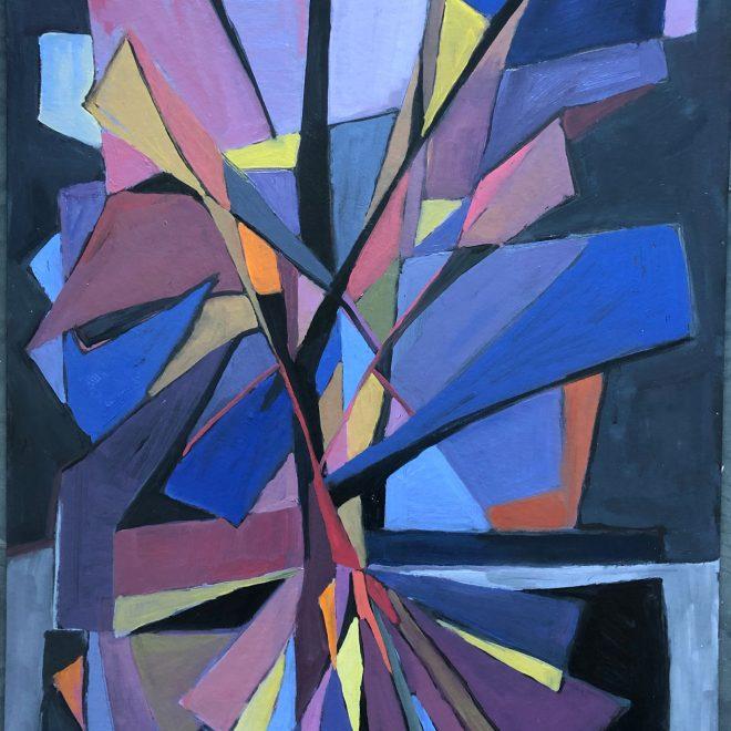 Blue-Tree,-Orange-Sun-(Louise-Faure-Walker)