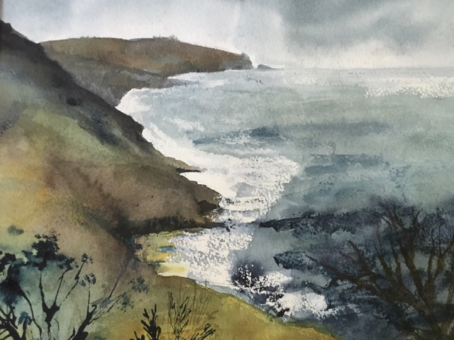 'Devon Coastline'   Watercolour and Ink.     Sarah G Freedman