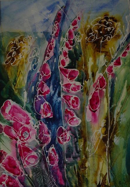 'Foxgloves'  Watercolour on Gesso.     Sarah G Freedman