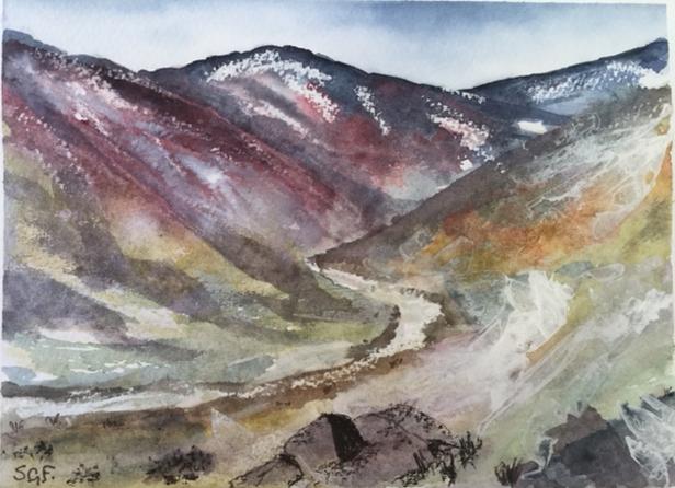 'Scottish Glen'  Watercolour.    Sarah G Freedman
