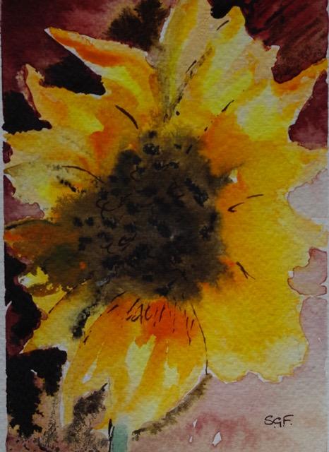 'Sunflower 4'  Watercolour.   Sarah G Freedman