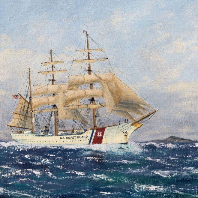USCG-Barque-Eagle-among-the-Galapagos-Islands(Paul-Rodhouse)
