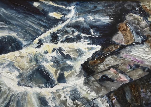 'Whirlpool'.   Watercolour on Gesso.     Sarah G Freedman