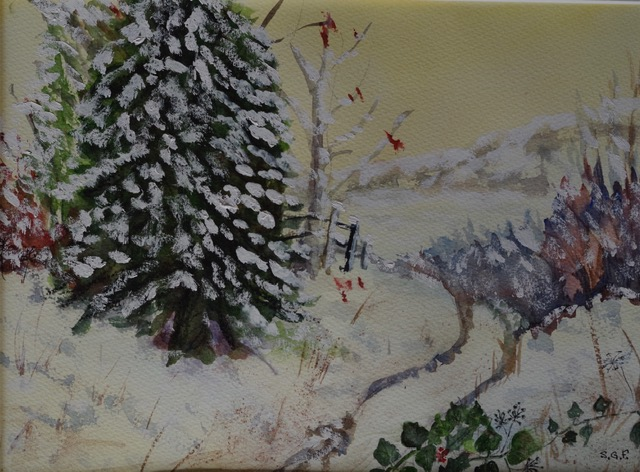 'Winter Glow'  Watercolour.     Sarah G Freedman